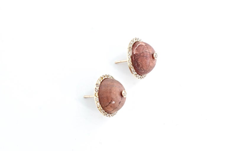 Brown Jasper Martha Studs A pair of eighteen-karat rose gold earrings consisting of a dome-like brown jasper cabochon surrounded by faceted brown diamonds.  An additional brown diamond is set in the center of the jasper.   Total Jasper Weight –