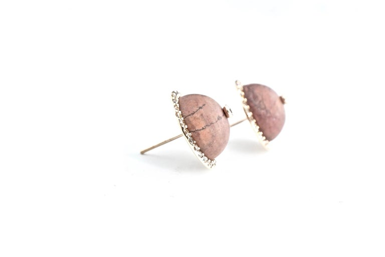 Sharon Khazzam 18K Rose Gold Brown Jasper and Brown Diamond Martha Stud Earrings In New Condition For Sale In Great Neck, NY