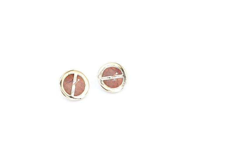 Women's or Men's Sharon Khazzam 18K Rose Gold Brown Jasper and Brown Diamond Martha Stud Earrings For Sale