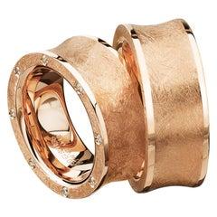 Furrer Jacot 18 Karat Rose Gold Brushed Chunky Concave Band