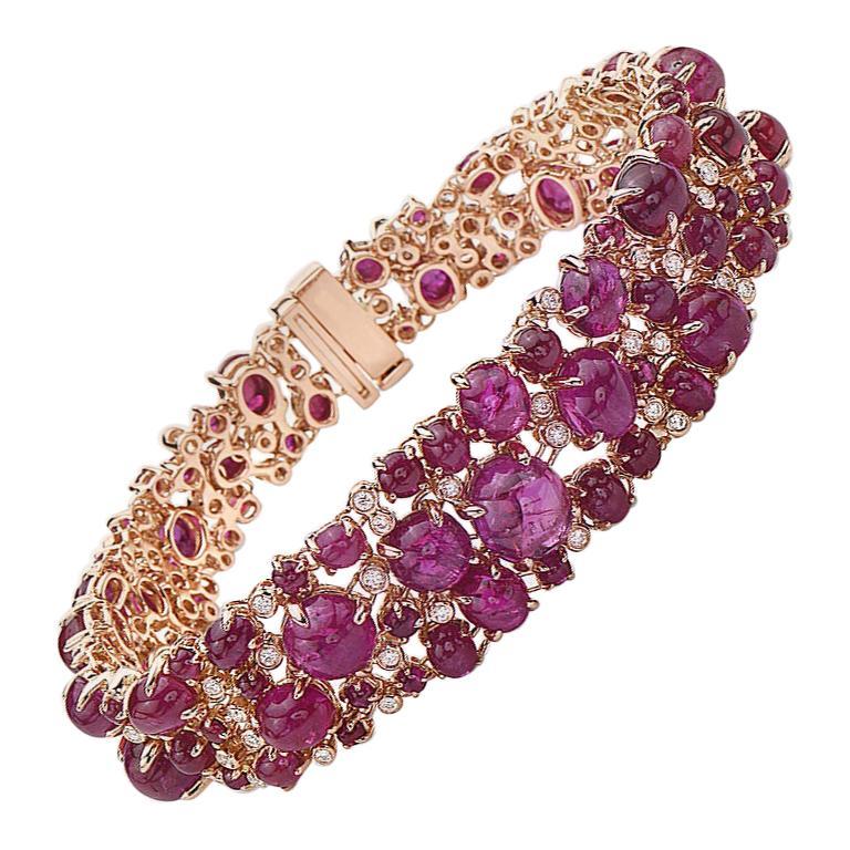 18 Karat Rose Gold Cabochon Ruby and Diamond Bracelet For Sale