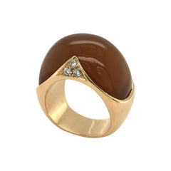 18 Karat Rose Gold Carnelian Diamond Ring by Paul Binder, 1974