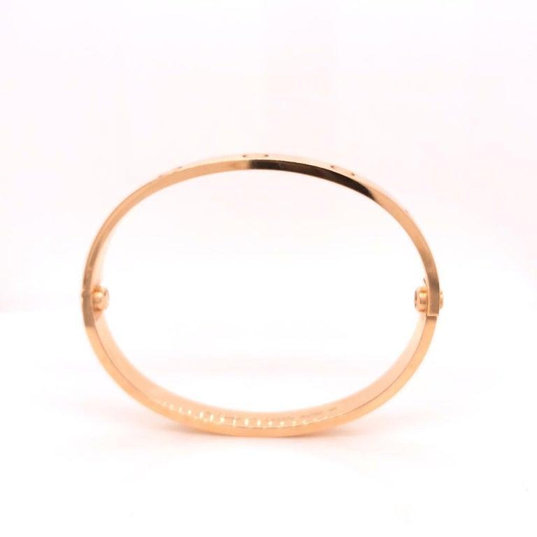 Women's or Men's 18 Karat Rose Gold Cartier Love Bracelet Bangle For Sale