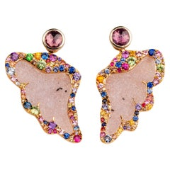 18 Karat Rose Gold Carved Druzy Wing Jackets and Pink Sapphire Studs