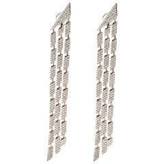 18 Karat Rose Gold Cascade Triple Diamond Earrings