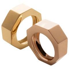 """Modern Style Ugolini 18 Karat Rose Gold """"Castle"""" Unisex Handcrafted Design Ring"""