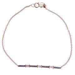 18 Karat Rose Gold Champagne Diamond Pavé Baguette Accent Bar Bracelet