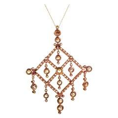 18 Karat Rose Gold Champagne Diamond Pendant Necklace