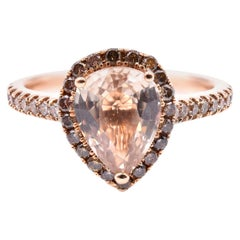18 Karat Rose Gold Champagne Sapphire with Diamond Pear Halo Ring