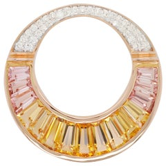 18 Karat Rose Gold Citrine Peach Tourmaline Baguette Diamond Pendant Necklace