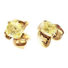 18 Karat Rose Gold Clip-On Earring, 2 Carats GIA Cert. Fancy Yellow Diamonds