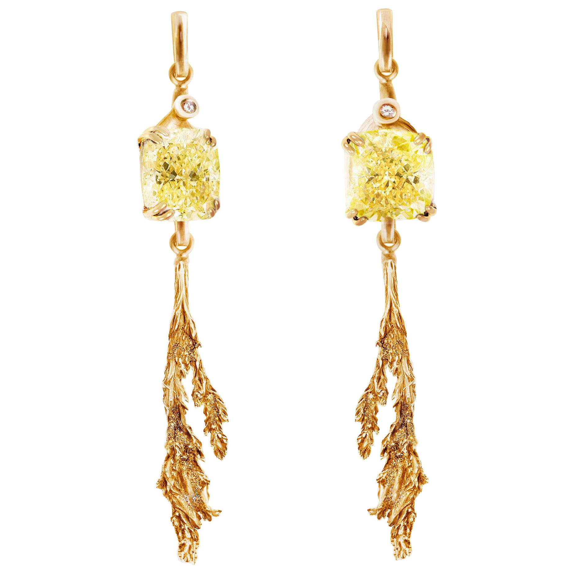 18 Karat Rose Gold Clip-On Earrings with GIA Cert. 4 Carat Yellow Diamonds