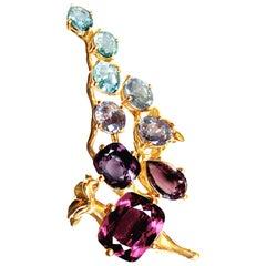 18 Karat Rose Gold Cluster Ring with 11 Carat Sapphires and Paraiba Tourmalines