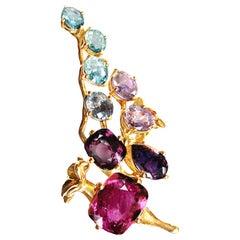 18 Karat Rose Gold Cluster Ring with 14 Carat Sapphires and Paraiba Tourmalines