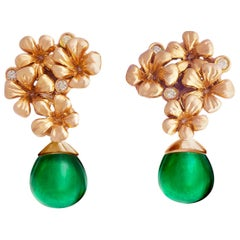 18 Karat Rose Gold Cocktail Earrings by the Artist with Diamonds and Emeralds