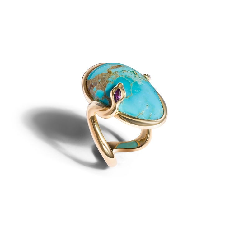 Contemporary 18 Karat Rose Gold Cocktail Ring Set with Turquoise Cabochon, Amethyst, Diamonds For Sale