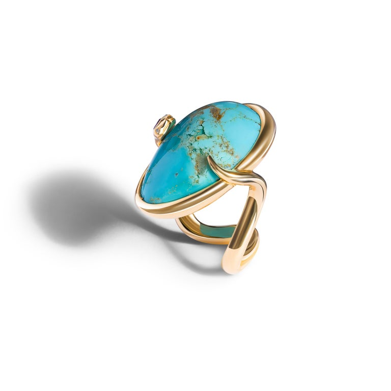 """DELPHI"" is a statement  18 K. Rose gold snake cocktail ring, set with a natural Arizona turquoise matrix cabochon (25,3 cts) amethyst, and white diamonds.  Handcrafted in Geneva Switzerland. Size 53."