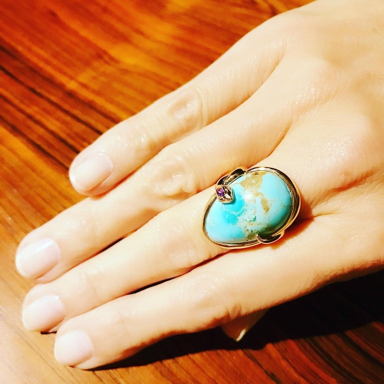 Women's or Men's 18 Karat Rose Gold Cocktail Ring Set with Turquoise Cabochon, Amethyst, Diamonds For Sale