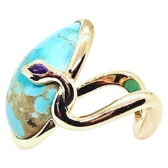18 Karat Rose Gold Cocktail Ring Set with Turquoise Cabochon, Amethyst, Diamonds