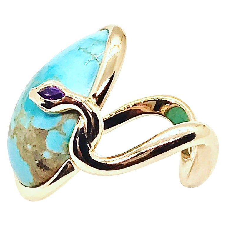 18 Karat Rose Gold Cocktail Ring Set with Turquoise Cabochon, Amethyst, Diamonds For Sale