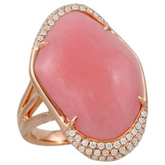 18 Karat Rose Gold Cocktail Ring with Cabochon Pink Opal and Diamonds