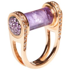 18 Karat Rose Gold Cognac Diamond and Amethyst Ring