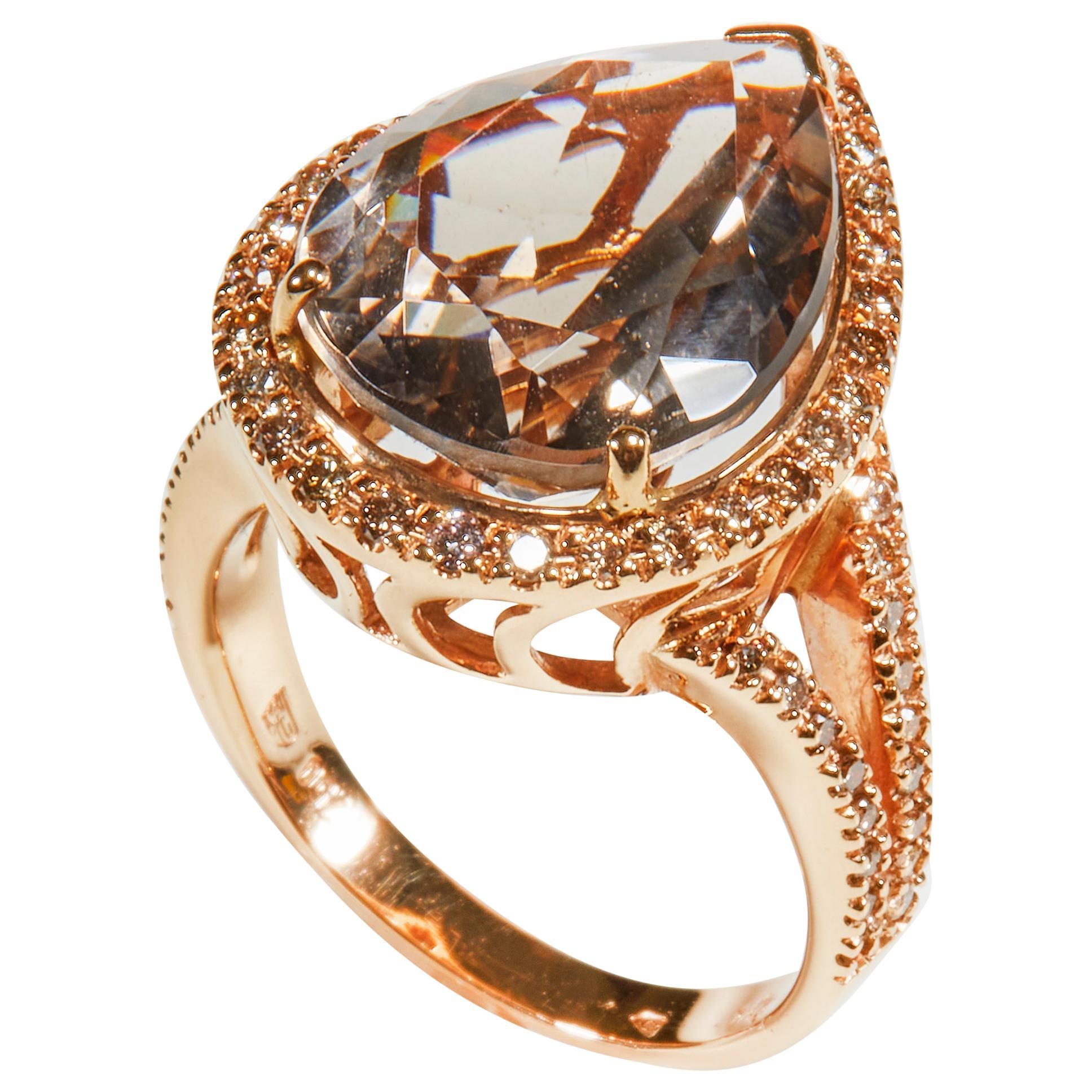 18 Karat Rose Gold Cognac Diamond and Smoky Quartz Cocktail Ring