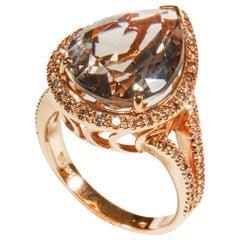 18 Karat Rose Gold Cognac Diamond and Smoky Quartz Cocktail Ring
