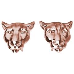 18 Karat Rose Gold Colorado Cougar Stud Earrings