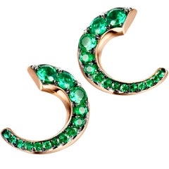 18 Karat Rose Gold Columbian Emerald Pave Flat Hoop Earrings