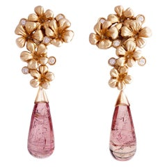 18 Karat Rose Gold Contemporary Cocktail Earrings with Diamonds and Tourmalines