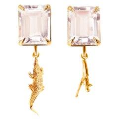 18 Karat Rose Gold Contemporary Dangle Earrings with Morganites