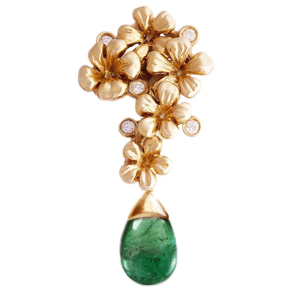 18 Karat Rose Gold Contemporary Drop Pendant Necklace with Diamonds and Emerald