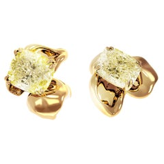 18 Karat Rose Gold Contemporary Earrings with 2 Carat GIA Cert Yellow Diamonds