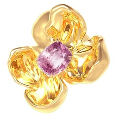 18 Karat Rose Gold Contemporary Magnolia Brooch with Cushion Lavender Spinel