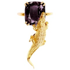 18 Karat Rose Gold Contemporary Ring with 7.42 Ct Perfect Storm Purple Spinel