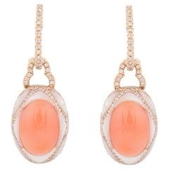 18 Karat Rose Gold Coral Diamond Mother of Pearl Earrings