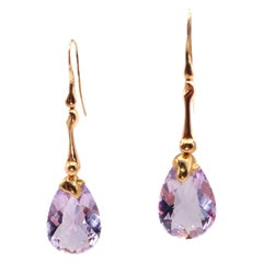 18 Karat Rose Gold Cotton Fiocc Earrings with Light Amethyst