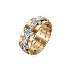 18 Karat Rose Gold Cross Diamond Band