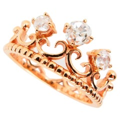 18 Karat Rose Gold Crown Ring with Old Mine Cut Diamonds 0.51 Carat