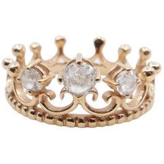 18 Karat Rose Gold Crown Ring With Old Mine Cut Diamonds