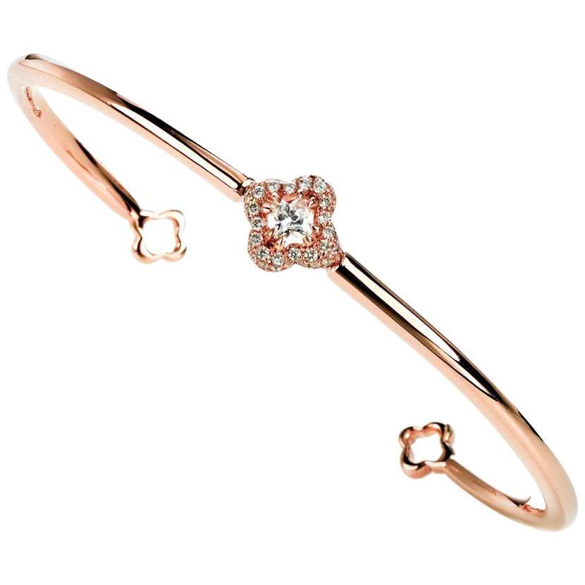 18 Karat Rose Gold Diameter Diamond Flower Bangle 0.39 Carat Total