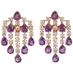 18 Karat Rose Gold Diamond Amethyst and Dangle Earrings