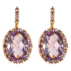 18 Karat Rose Gold Diamond Amethyst and Pink Sapphire Dangle Earrings