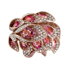 18 Karat Rose Gold, Diamond and 6.61 Carat Pink Sapphire Flower Cocktail Ring