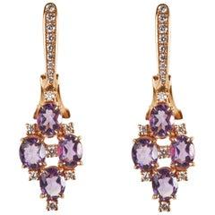18 Karat Rose Gold Diamond and Amethyst Dangle Earrings