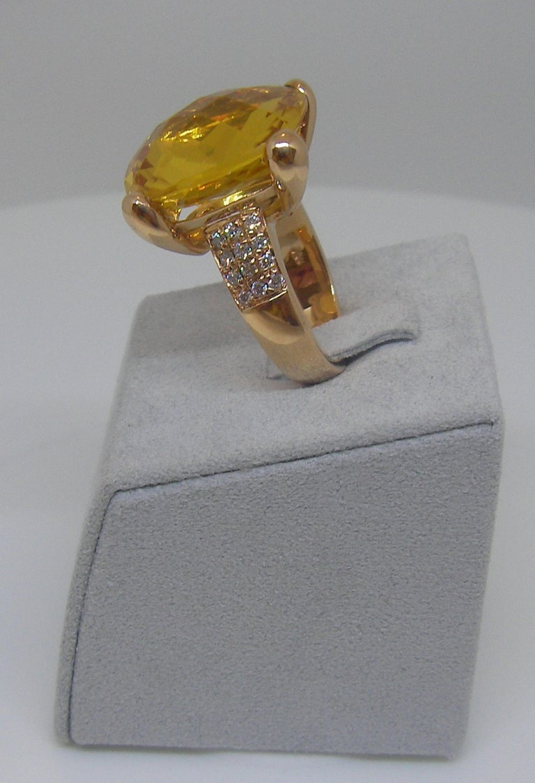 Cushion Cut 18 Karat Rose Gold Diamond and Citrin Coktail Ring For Sale