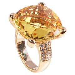 18 Karat Rose Gold Diamond and Citrin Coktail Ring