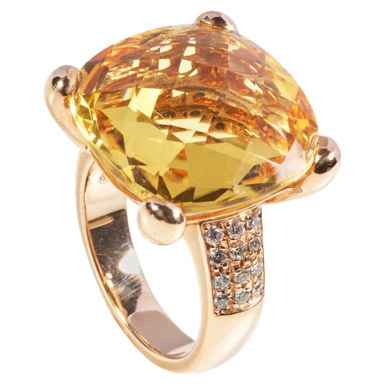 18 Karat Rose Gold Diamond and Citrin Coktail Ring For Sale