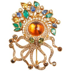 18 Karat Rose Gold Diamond and Citrin Octopus Brooch